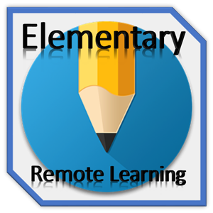 Elementary Remote Learning blue circle with pencil in the middle